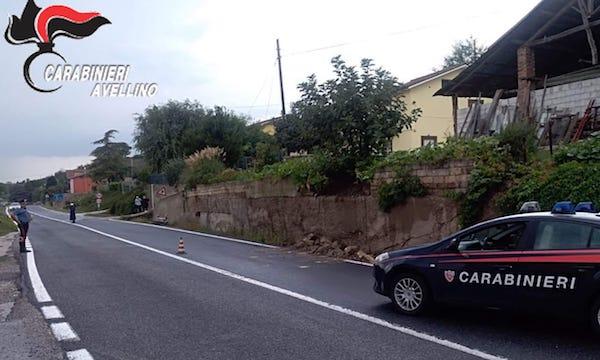 Grottaminarda: muro franato, disagi alla circolazione