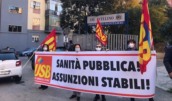 'Chiediamo una sanità adeguata', presidio Usb ad Avellino